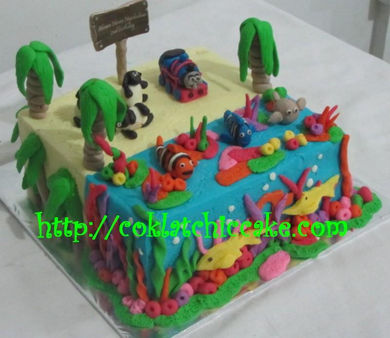 Kue ulang tahun thomas, shaun the sheep dan nemo