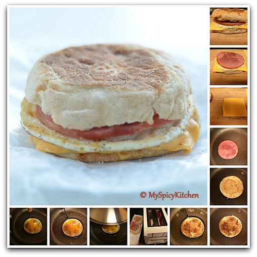 Step by step preparation of egg mcmuffin, McDonald style Egg McMuffin, American Breakfast,