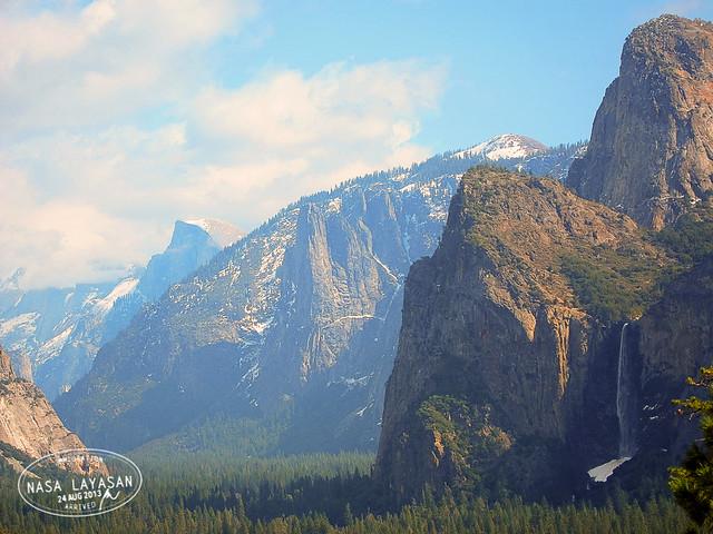 Half-dome and Bridal Veil Falls, Yosemite National Park, California, USA