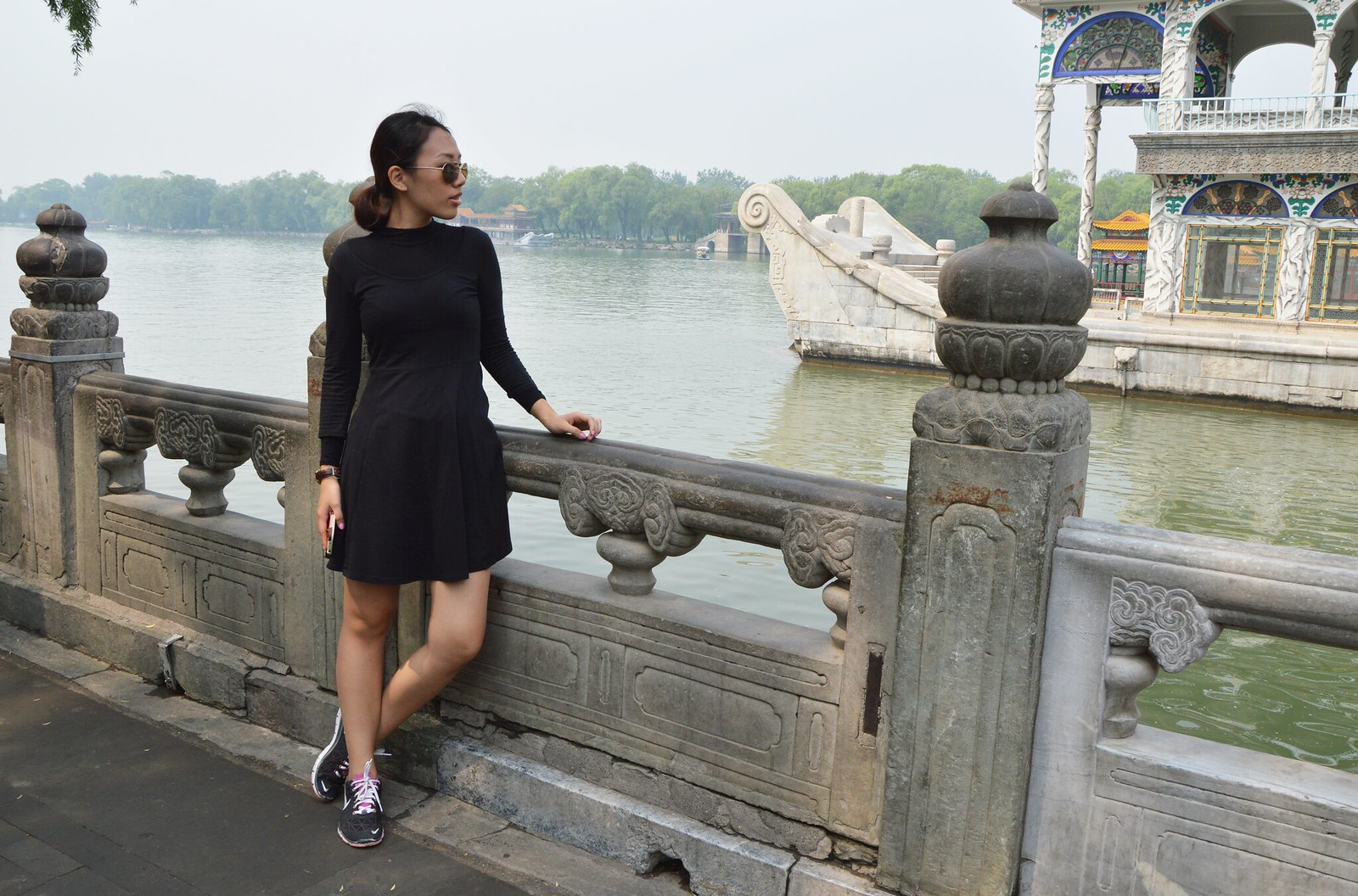 all black outfit, black dress, nike sneakers, the summer palace beijing