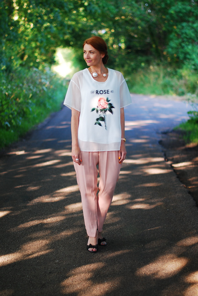 Sheer rose top with blush pink trousers