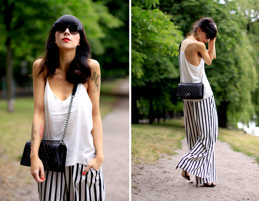summer outfit striped wide pants white top zara h&m conscious collection oversized look chanel fashion fashionblogger berlin Ricarda Schernus CATS & DOGS 1