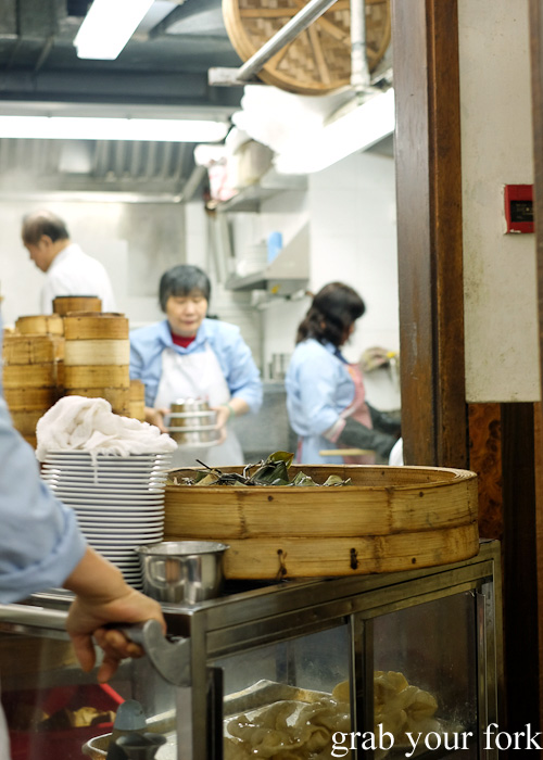 Yum cha trolley getting refills from the kitchen at Lin Heung Tea House in Central, Hong Kong