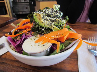 Urban Bowl (quinoa, kale, sea vegetables, carrot, avocado with tahini sauce) at Prasad