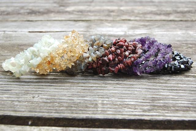 Gemstone spiral bracelets - together