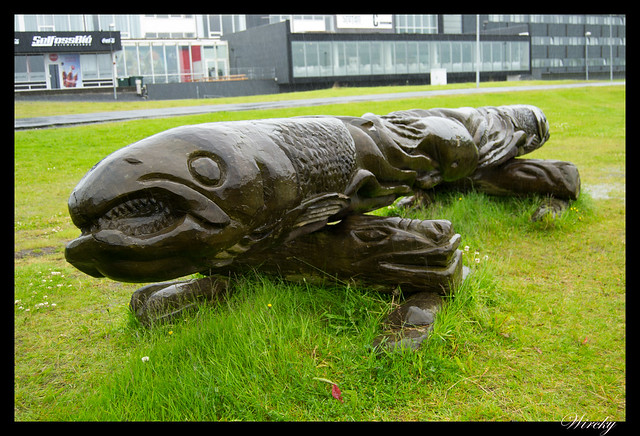 Visita rápida al pueblo de Selfoss - Banco o tótem con forma de pez