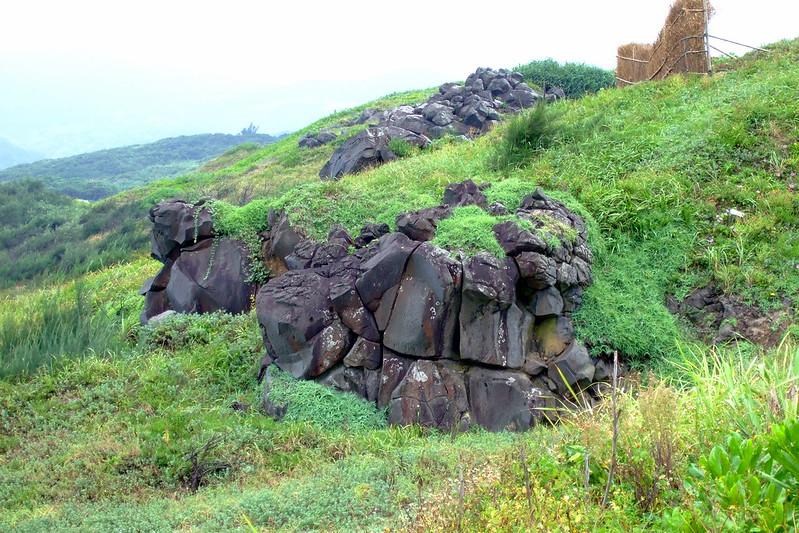 岸上突出的石堆