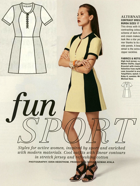 Burda-July-2014 Color Block Petite Dress
