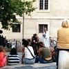 Outdoor theatre in a square in Le Panier