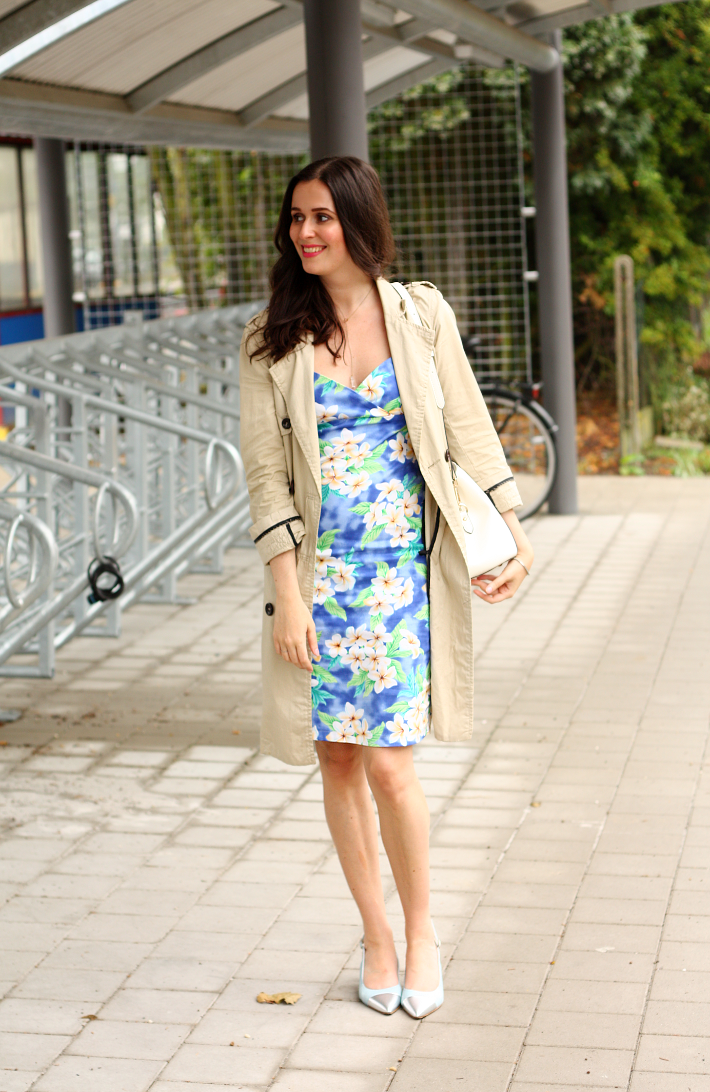 hawaiian print retro dress trenchcoat