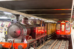 Steam train at Moorgate Tube station London