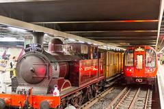 Steam train at Moorgate Tube station London