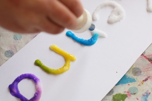 Salt, Glue, and Watercolour Art - Name Recognition Activity (Photo from Happy Hooligans)