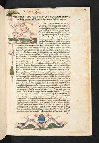 Historiated epigraphic initial in Leonicenus, Omnibonus: Commentum in Ciceronis Oratorem