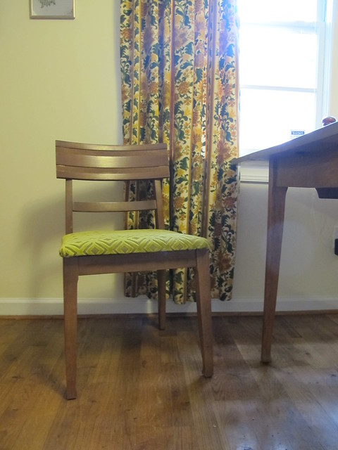 Chairs reupholstered with fabric from Mood Fabrics