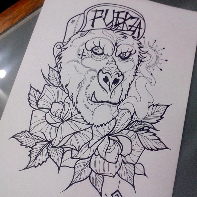 Tattoo Gorilla Neo Traditional Tattoo Ta2 Tatuaje I Flickr