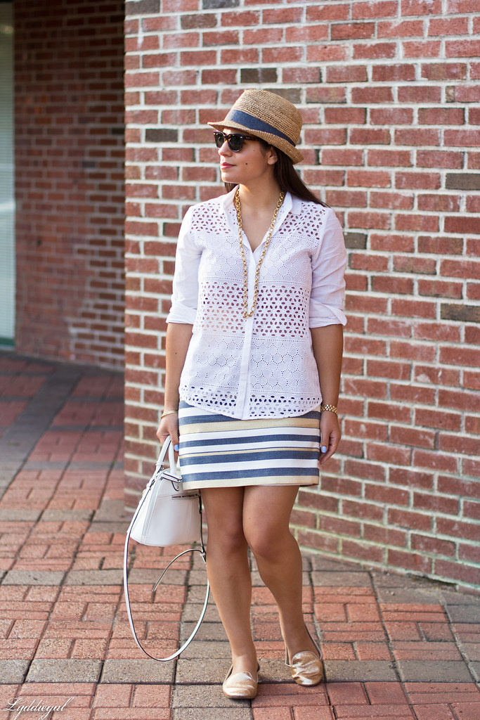 white eyelet lace buttondown, striped mini skirt.jpg