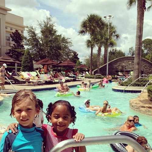 Finn and Margot take a break from the lazy river