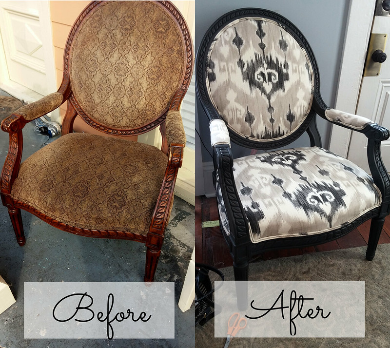 Reupholstered Chair Before and After