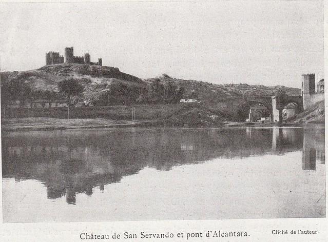 Playa de Safont, Puente de Alcántara y Castillo de San Servando a comienzos del siglo XX. Fotografía de Élie Lambert publicada en su libro Les Villes d´Art Célebres: Tolède (1925)