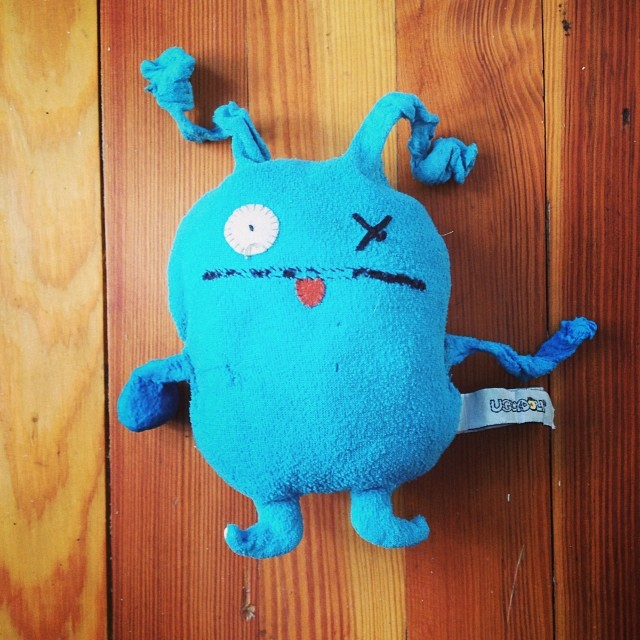 What does love look like? This is Ox, Finn's favorite object, and the ears are about to fall off. We can't find replacement fleece for emergency surgery. Can anyone help? #uglydoll #emergency