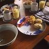 We were going to go out for Sunday Brunch...but we realized that every student & their family would be out doing the same...so we stayed in and made our own... Biscuits/gravy, eggs, bacon & a frozen pineapple/gin brunch cocktail