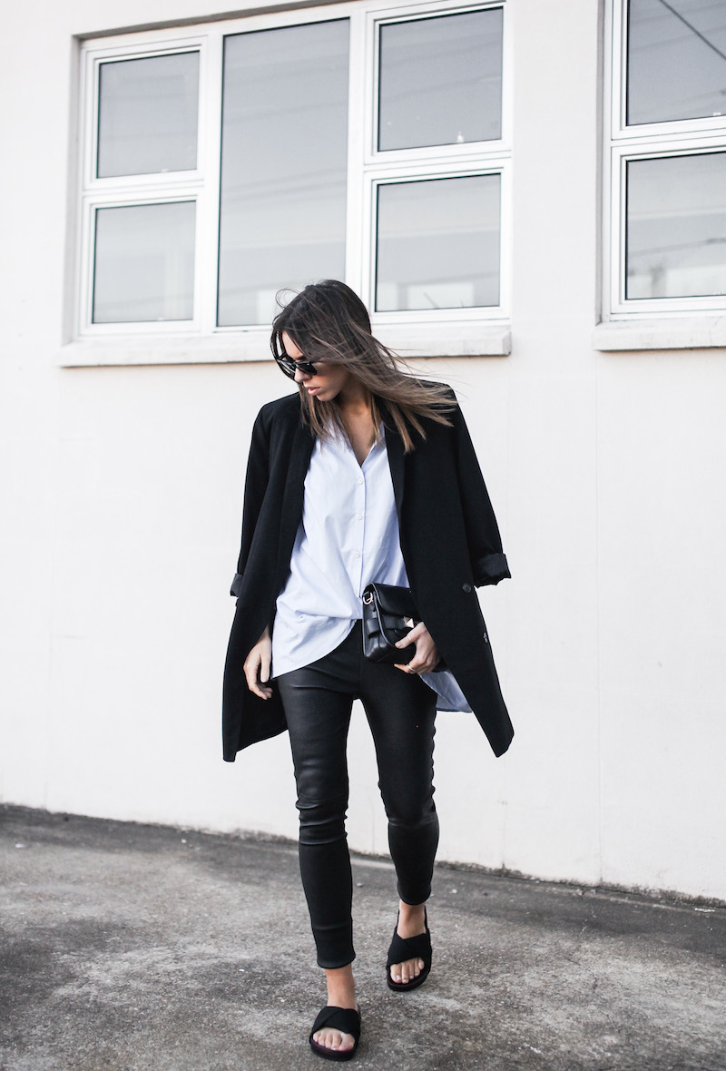 modern legacy fashion blog Australia street style Theory leather leggings Hope man style shirt boyfriend blazer Celine slide sandals Proenza Schouler PS11 mini bag work wear (2 of 12)