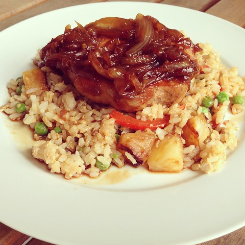Pork chops pineapple rice