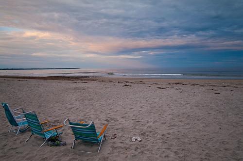ocean sunset summer sky beach clouds sand chairs maine newengland wells atlantic coastal drakesisland wellsme