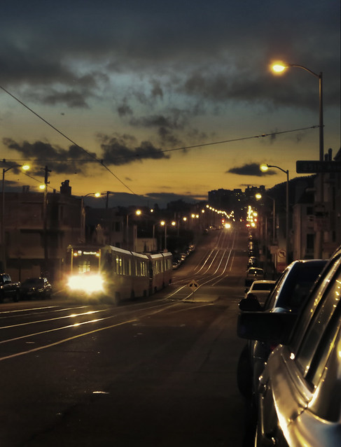 N Judah, early morning; The Sunset, San Francisco (2014)