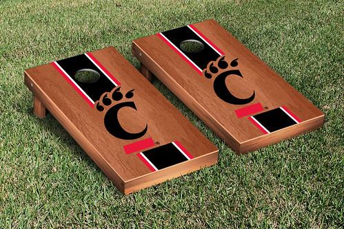 University of Cincinnati Bearcats Cornhole Game Set Rosewood Stained Stripe Version