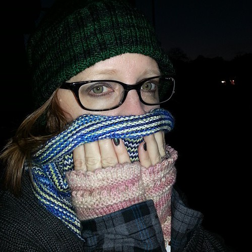 It was a chilly night, but I had plenty of hand knits to keep me warm.