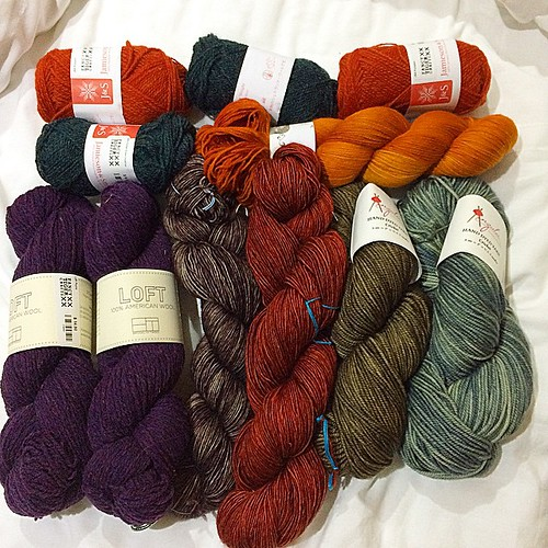 Hello, new friends! I visited @fancytigercrafts today and it was so nice! These new yarnies followed me back to my hotel. #madelinetosh anzulaluxuryfibers @brooklyntweed @hedgehogfibres  #sheetlandwool