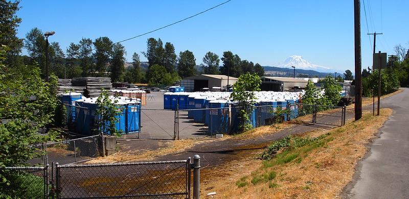 Porta-potties Everywhere!: Mount Rainier in the background