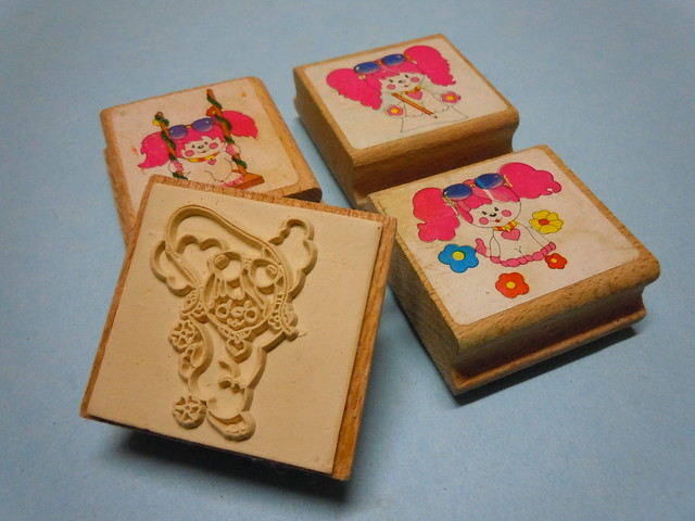 Poochie Mattel 80s Wooden Stamps