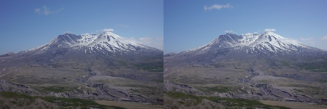 Mt St Helens in 3D, crosseyed format