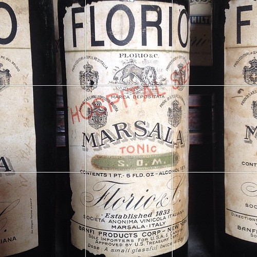 Prohibition-era #Marsala bottle. A hospital-size, take two doses of this tonic per day. #Sicily