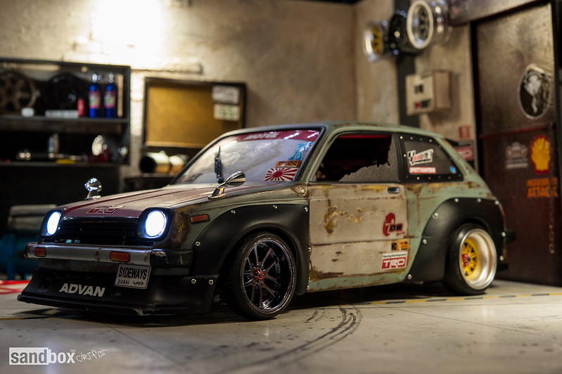 Dubdrift Toyota STARLET KP61 RC Drift Rusty Effect on sandbox speedhunters drift garage 14181808389_fda77e7158_c