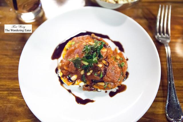 Pork shoulder ravioli, pinenuts, ricotta
