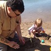 Larkin and I building sandcastles.