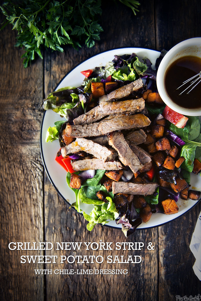Grilled New York Strip and Sweet Potato Salad \\ GirlCarnivore.com
