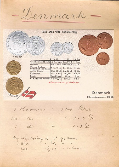 Denmark coin postcard mounted