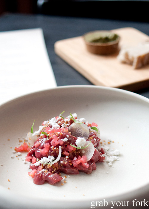 Venison tartare with pickled radish at The Town Mouse, Carlton, Melbourne