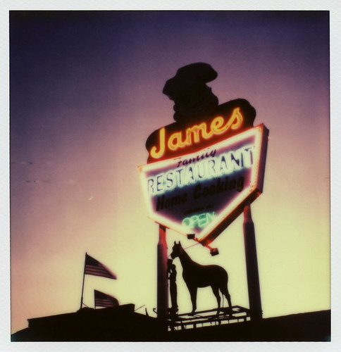 california ca street old family sunset toby horse usa color home cooking coffee silhouette sign shop night project stars polaroid sx70 restaurant james us twilight san neon open glory stripes flag cook diner landmark illuminated tip chef fernando lit sonar hancock protection truman 1953 impossible px70 theimpossibleproject tobyhancock impossaroid colorprotection