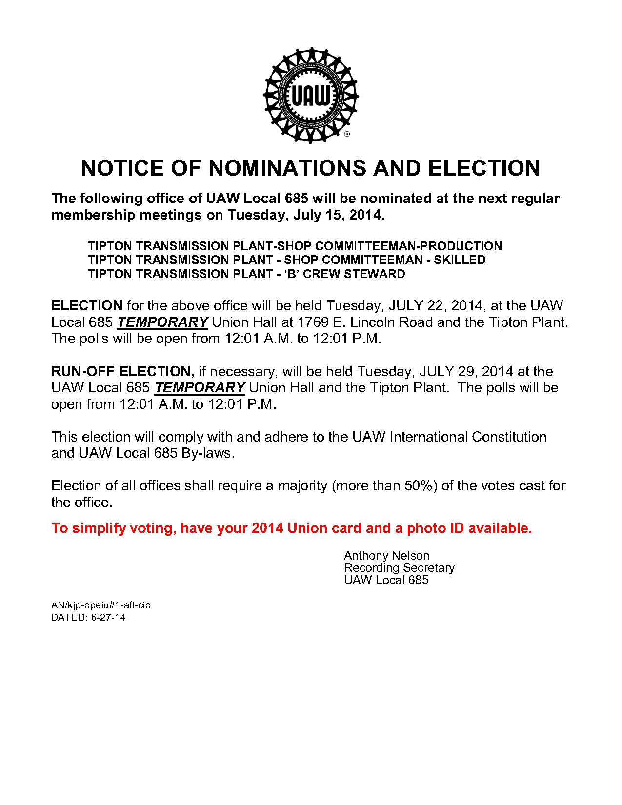 7-15-14 Tipton Transmission Plant Nominations and Election Notice_1 (1)