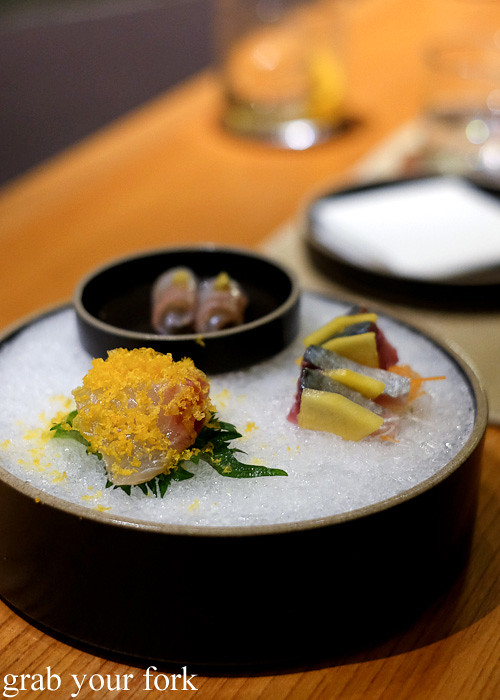 Chinu black sea bream sashimi, suzuki sea bass sashimi and saba mackerel sashimi at Ronin, Hong Kong