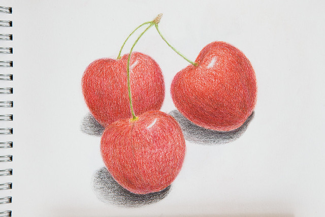 sweet cherry, drawing, A5, colored pencils