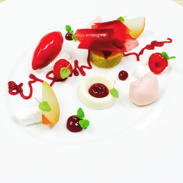 Yogurt Mousse, Raspberry pudding, basil pound cake, raspberry sorbet ...