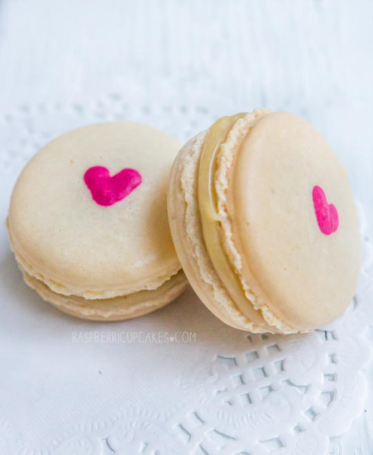 Heart-Inside Macarons (Strawberry Cheesecake and Vanilla Malt)