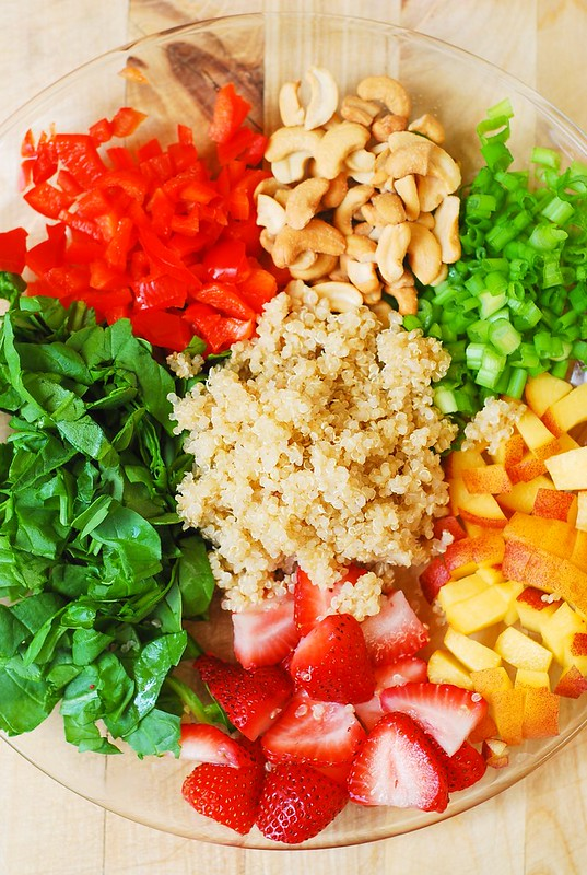 cashew nuts recipe, quinoa salad, spinach salad recipe, peaches, strawberry spinach salad